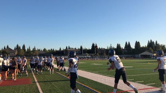 Damonte Ranch warms up at Granite bay on Friday night.