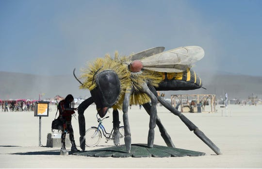 Images of people and art on playa during Burning Man 2019.