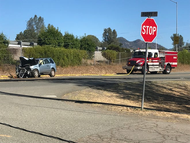 Interstate 5 in the area of Pine Grove Avenue in Shasta Lake was closed for about an hour on the morning of Saturday, Aug. 31, 2019, after this blue SUV hit a power pole on Twin View Boulevard and sent power lines across the freeway. There were no injuries.