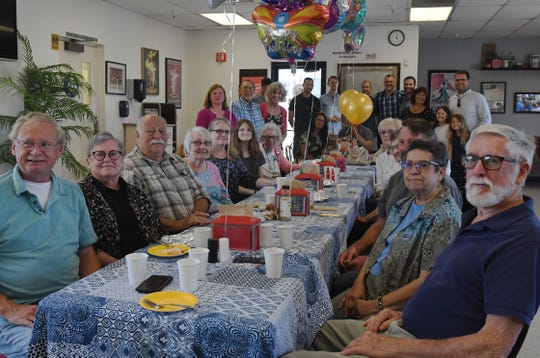 Margaret's friends pose for a group photo at her 100th birthday party. Aug. 31, 2019.