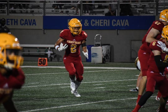 Running back Anthony Villegas (2) and the Palma Chieftains head northeast to Oakdale Friday for their third game of the season.