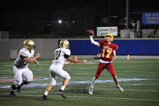 Palma quarterback Luke Rossi (17) throws a pass in the second half against Archbishop Mitty. Aug. 30, 2019.