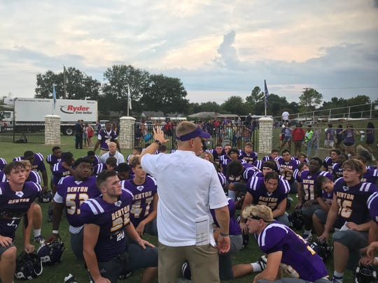 Benton coach Reynolds Moore addresses his team following the 2019 Bossier Lions Club Jamboree