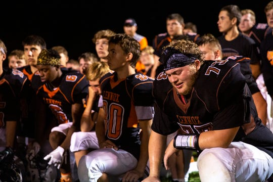 Lennox High School lineman Austin Metivier (73) faces defeat after their first home game on Friday, Aug. 30. Dell Rapids defeated Lennox with a score of 7-6.