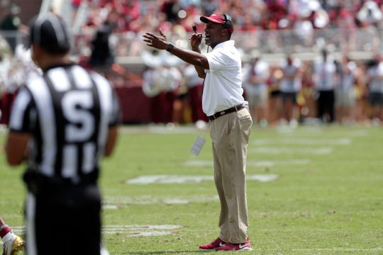 Florida State Seminoles head coach Willie Taggart yells a play to his players. The Florida State Seminoles host the Boise State Broncos for their first game of the season. The game was previously scheduled to be played in Jacksonville, Fla. but was moved to Tallahassee due to the threat of Hurricane Dorian.