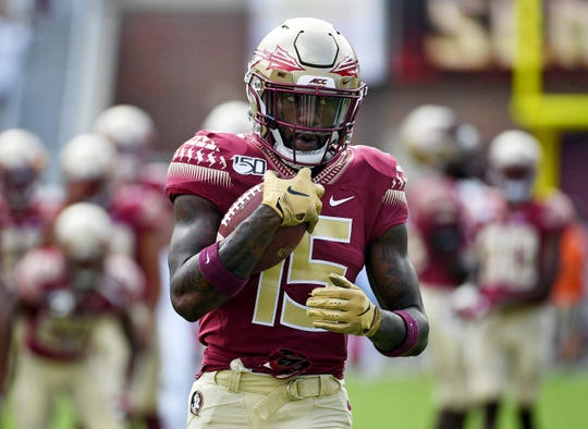 Aug 31, 2019; Tallahassee, FL, USA; Florida State Seminoles wide receiver Tamorrion Terry (15) before the start of the game against the Boise State Broncos at Doak Campbell Stadium. Mandatory Credit: Melina Myers-USA TODAY Sports