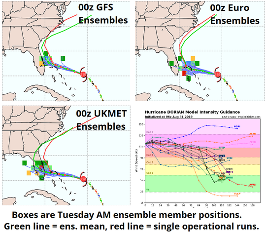 Hurricane Dorian ensemble member forecasts as of Saturday morning.