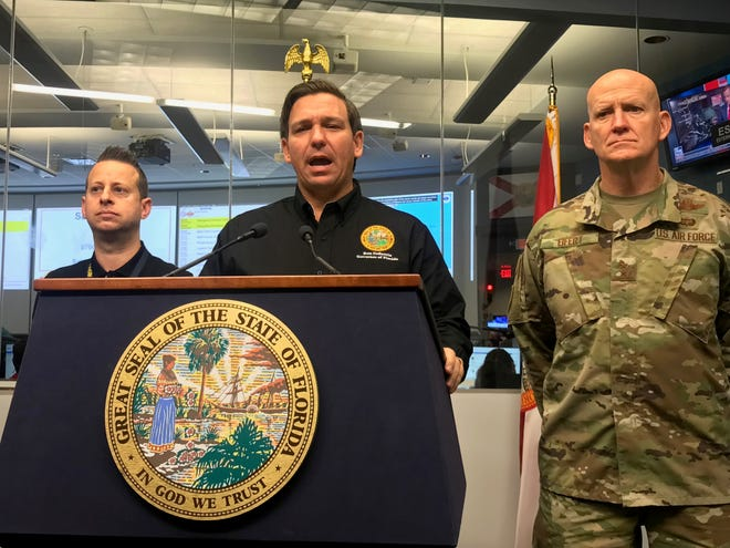 In an EOC briefing, Gov. Ron DeSantis warns Floridians to remain vigilant as the track for Hurricane Dorian shifted East.