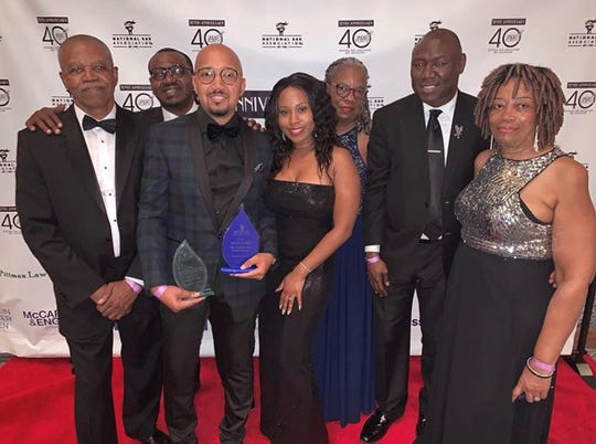 Attorney Charles Gee, third from left, at National Bar Association honors July 24 in New York. From left to right: Eluster Richardson, Adaryll (law partner); Olivia Weekes, fiancee; Lessie Richardson, Ben Crump and his mother, Ella Gee.