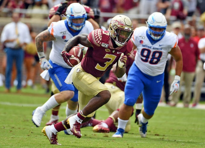 Aug 31, 2019; Tallahassee, FL, USA; Florida State Seminoles running back Cam Akers (3) runs the ball for a touchdown in the first quarter against the Boise State Broncos at Doak Campbell Stadium. Mandatory Credit: Melina Myers-USA TODAY Sports