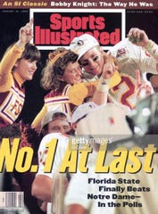 Florida State's Matt Frier with FSU cheerleaders and sod after winning National Championship game vs Nebraska at Orange Bowl/