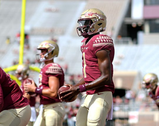 Aug 31, 2019; Tallahassee, FL, USA; Florida State Seminoles quarterback James Blackman (1) before the start of the game against the Boise State Broncos at Doak Campbell Stadium. Mandatory Credit: Melina Myers-USA TODAY Sports