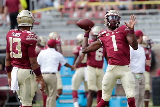 The Florida State Seminoles warmup before they kick off their first game of the season as they host the Boise State Broncos.