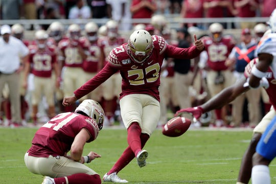 Florida State Seminoles place kicker Ricky Aguayo (23) kicks a field goal. The Florida State Seminoles host the Boise State Broncos for their first game of the season. The game was previously scheduled to be played in Jacksonville, Fla. but was moved to Tallahassee due to the threat of Hurricane Dorian.