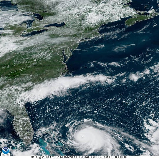 NOAA satellite imagery of Hurricane Dorian on Saturday, August 31, 2019.