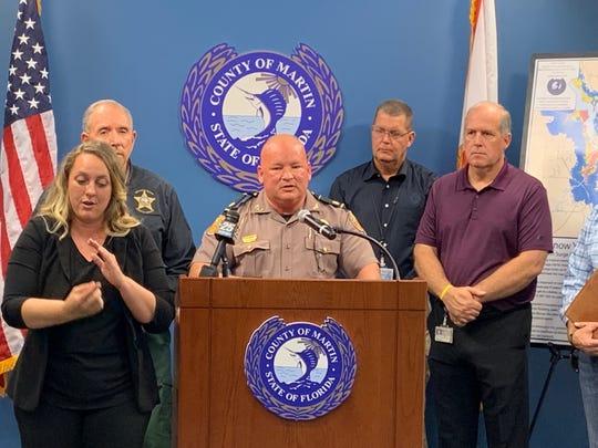 FHP Major Robert Chandler addressed media about preparing for Hurricane Dorian at the Martin County Emergency Operation Center in Stuart Aug. 30, 2019.