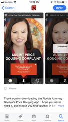 The Florida Attorney General's price gouging app allows people to file a complaint from their smartphones.