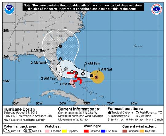 Hurricane Dorian 8 a.m. Aug. 31, 2019