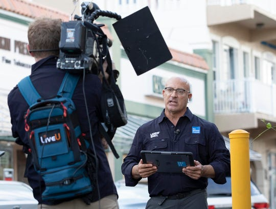 The Weather Channel's star meteorologist Jim Cantore reports on Hurricane Dorian on Saturday, Aug. 31, 2019, from downtown Stuart. Cantore and his team spent the morning along the Riverwalk giving weather updates while fans gathered to watch the broadcast.