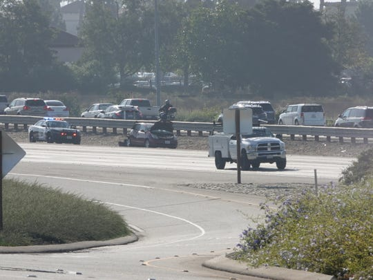 A Prius suffered major damage and a pickup truck flipped on its side in a crash on northbound Highway 101 in Camarillo Saturday morning. Minor injuries were reported.