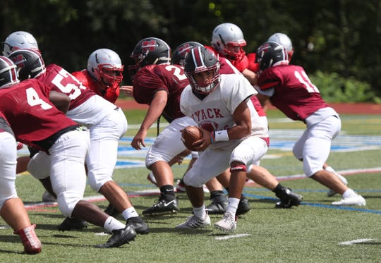 Mahopac football hosts a multi-team football scrimmage at Mahopac High School on Saturday, August 31, 2019.