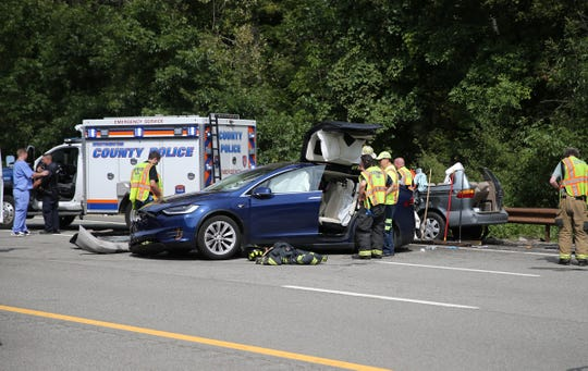 On the scene of a serious two-car accident on the Taconic State Parkway in Pleasantville on Saturday, August 31, 2019.