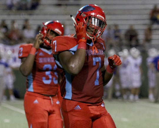 Hirschi's Chris Murray walks off the field in the game against Graham Friday, Aug. 30, 2019, at Memorial Stadium.