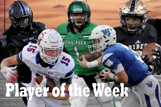 Nominees for Player of the Week are Graham's Daniel Gilbertson, Iowa Park's Trent Green, Windthorst's Cy Belcher, City View's Jayln Marks, and Rider's Nick Darcus.