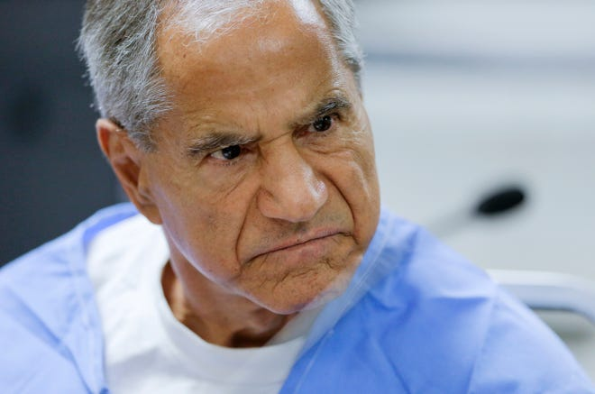 FILE - In this Wednesday, Feb. 10, 2016, file photo, Sirhan Sirhan reacts during a parole hearing at the Richard J. Donovan Correctional Facility in San Diego.