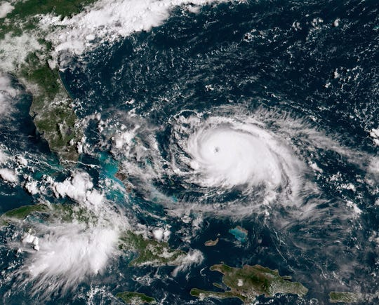 In this NOAA GOES-East satellite handout image, Hurricane Dorian, now a Cat. 4 storm, tracks towards the Florida coast on August 31, 2019 in the Atlantic Ocean. A hurricane warning is in effect for the northwestern Bahamas, where Dorian will arrive Sunday. According to the National Hurricane Center Dorian is predicted to hit the U.S. as a Category 4 storm.