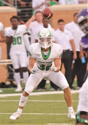 North Texas receiver Michael Lawrence waits to catch a Mason Fine pass during the second quarter of the Mean Green's 51-31 victory over ACU on Aug. 31 at Apogee Stadium in Denton.