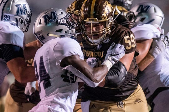 Monmouth safety Hasan Chambers (24) guards Western Michigan center Luke Juriga (59) on Saturday, Aug. 31, 2019 at Waldo Stadium in Kalamazoo, Mich.