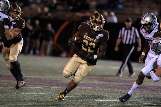 Western Michigan running back Davon Tucker (22) rushes the ball in the fourth quarter against Monmouth on Saturday, Aug. 31, 2019 at Waldo Stadium in Kalamazoo, Mich.