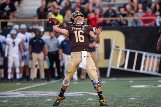 Western Michigan quarterback Jon Wassink (16) passes the ball in the first quarter against Monmouth on Saturday, Aug. 31, 2019 at Waldo Stadium in Kalamazoo, Mich.