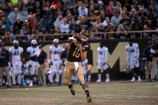 Western Michigan quarterback Jon Wassink (16) passes the ball in the second quarter against Monmouth on Saturday, Aug. 31, 2019 at Waldo Stadium in Kalamazoo, Mich.