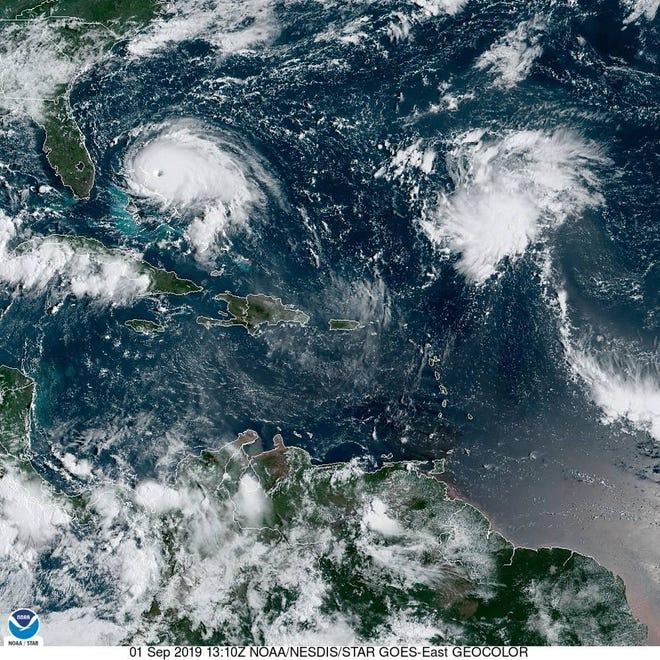 Hurricane Dorian on Sept. 1, 2019, as seen from GOES satellite image.