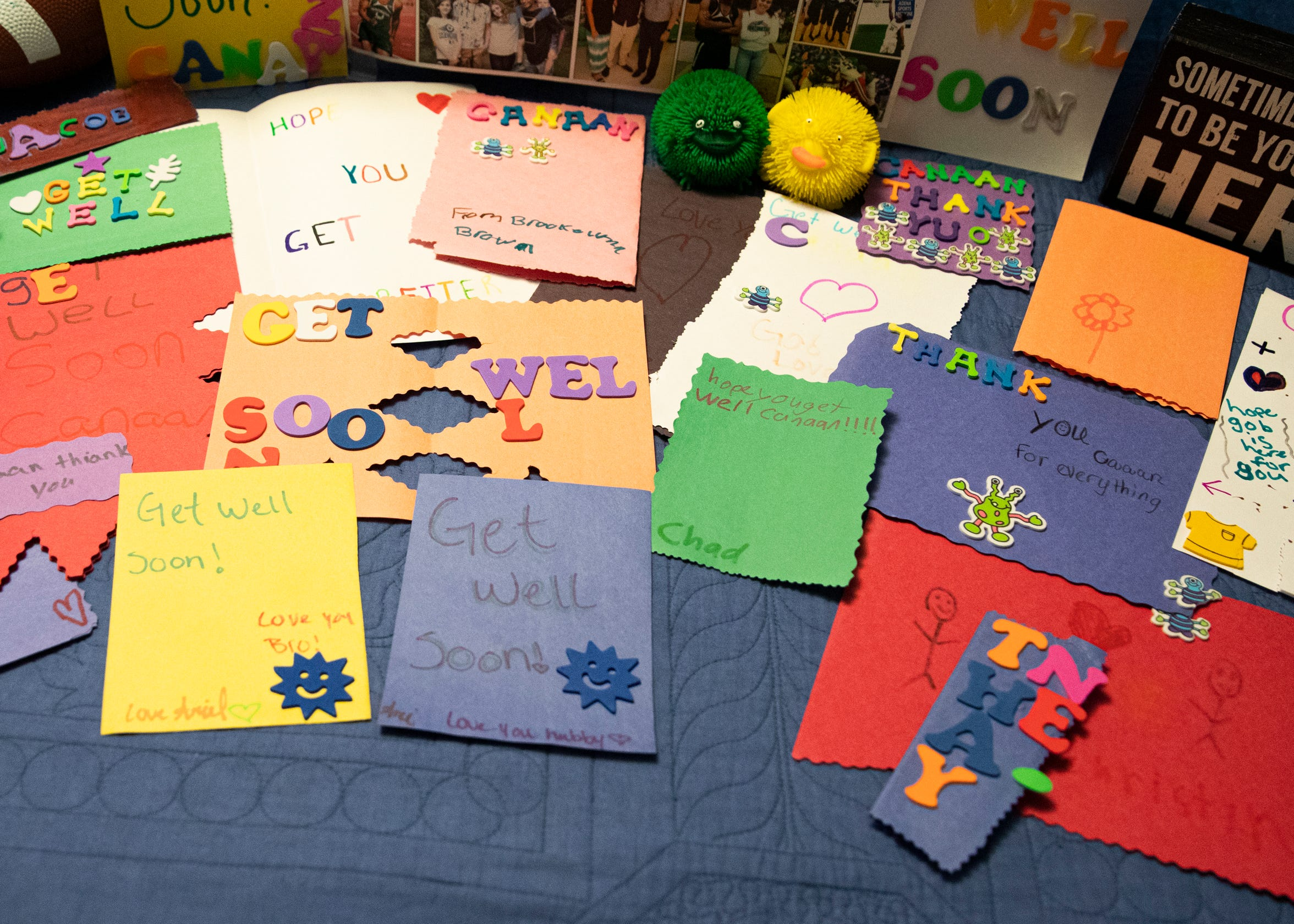 Canaan received so many handwritten decorated get-well cards from kids at the camp where he worked and had his tragic accident in July.