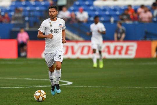 Aug 31, 2019; Frisco, TX, USA; FC Cincinnati midfielder Leonardo Bertone (6) dribbles the ball during the first half against the FC Dallas at Toyota Stadium.
