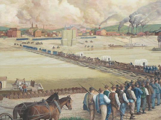 Mural depicts the defense of Cincinnati during the siege of September 1862.