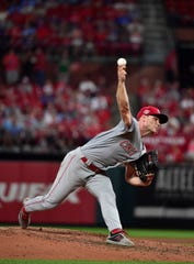 Aug 31, 2019; St. Louis, MO, USA; Cincinnati Reds starting pitcher Sonny Gray (54) pitches during the fifth inning against the St. Louis Cardinals at Busch Stadium. Mandatory Credit: Jeff Curry-USA TODAY Sports