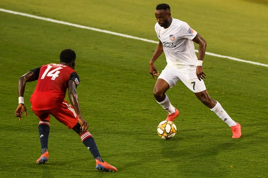 Aug 31, 2019; Frisco, TX, USA; FC Cincinnati forward Roland Lamah (7) plays the ball as FC Dallas forward Dominique Badji (14) defends during the first half at Toyota Stadium.