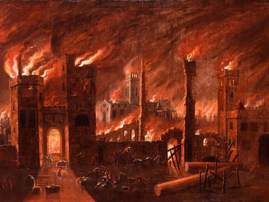 The Great Fire of London, 1666.