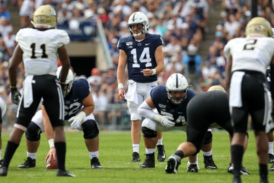 Aug 31, 2019; University Park, PA, USA; Penn State Nittany Lions quarterback Sean Clifford (14) during the first quarter against the Idaho Vandals at Beaver Stadium.
