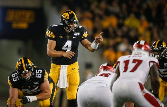 Iowa senior quarterback Nate Stanley calls to his offense before taking the snap in the fourth quarter against Miami of Ohio at Kinnick Stadium in Iowa City on Saturday, Aug. 31, 2019.