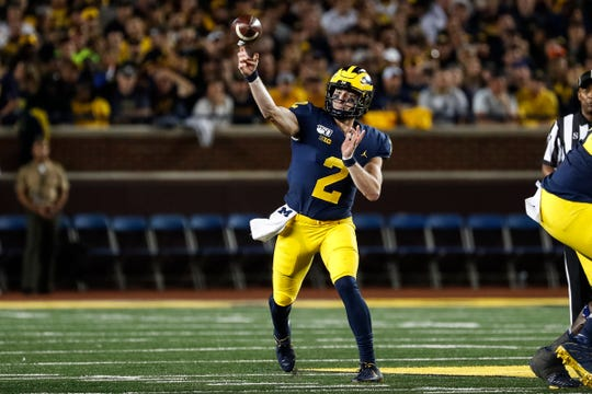Michigan quarterback Shea Patterson passes against Middle Tennessee State during the first half at Michigan Stadium, Saturday, August 31, 2019.