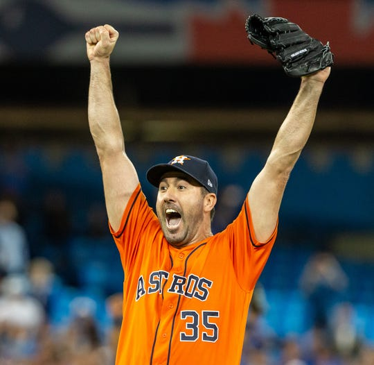 Astros pitcher Justin Verlander celebrates after throwing a no-hitter against the Blue Jays on Sunday, Sept. 1, 2019, in Toronto.