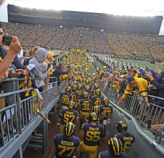 The Michigan Wolverines take the field for the season opener against the Middle Tennessee State Blue Raiders on  Saturday, August 31, 2019 at Michigan Stadium.
