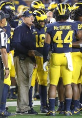 Michigan Wolverines defensive coordinator Don Brown during the game against the Middle Tennessee State Blue Raiders, Saturday, August 31, 2019 at Michigan Stadium.