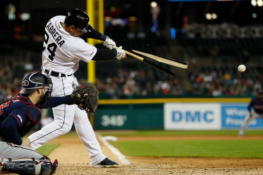 Detroit Tigers' Miguel Cabrera breaks his bat as he hits into a fielder's choice during the sixth inning against the Minnesota Twins, Saturday, Aug. 31, 2019, in Detroit.