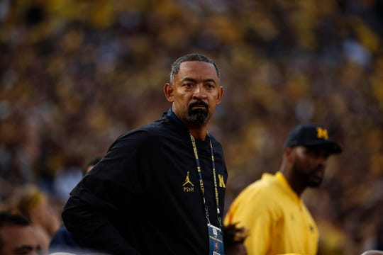 Michigan basketball head coach Juwan Howard during the first half against Middle Tennessee State at Michigan Stadium in Ann Arbor, Saturday, August 31, 2019.